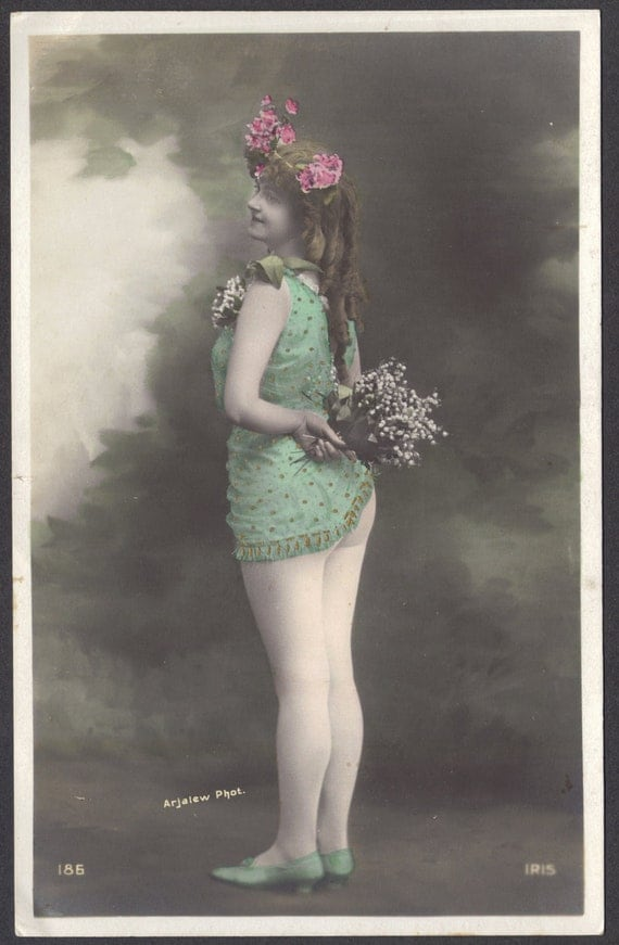 French Dancer Needs to Adjust Costume, by Arjalew, dated 1911