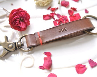 Personalized Leather Keychain Keyclip, mens keychain