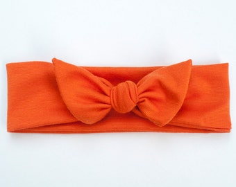 Orange Halloween Jersey Knit Knotted Bow Headband/Headwrap Baby Toddler Child Adult