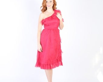 Dress 1970s Vintage 70s HOT PINK Ruffle Sheer XS xxs S Small