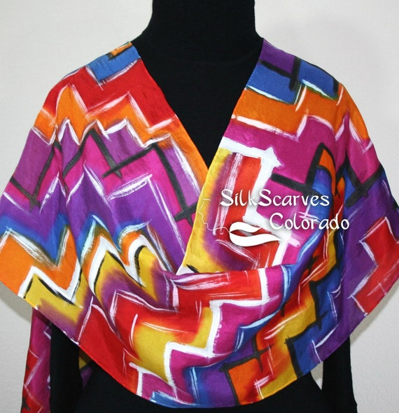 Hand Painted Silk Scarf AZTEC STAIRS. Scarf in Red, Orange and Purple. Size LARGE 14x72. 100% silk. Birthday Gift, Anniversary Gift