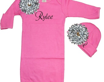 Personalized Infant Gown and Hat Hot Pink with Black & White Damask Flowers