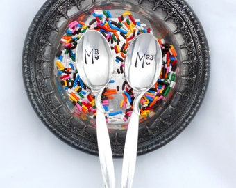 Pair of CUSTOM  Ice Cream Spoons. PERSONALIZED Hand Stamped Vintage Teaspoons by Sycamore Hill. Made To Order. Your Wording. His Hers.