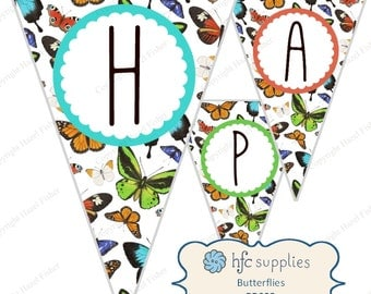 Butterfly Birthday Bunting - printable happy birthday party banner, bright colourful butterfly - Digital Instant Download PB008