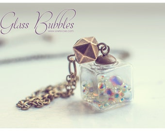 Glass cube necklace, bubbles necklace, glass bottle necklace, glass necklace, bottle pendant, glass square necklace, necklace for girl