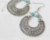 Unique Ethnic Antique silver crescent shape half moon basket dangle earrings Hippie Tribal Bohemian jewelry Gypsy earrings by Inali