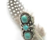 upcycled Stunning Tibetan silver and Howlite turquoise adjustable ring Free people style Gypsy Bohemian cocktail statement ring  by Inali