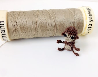 Tiny Crochet Monkey - about 1 inch