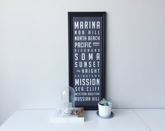 San Francisco Neighborhood Poster / Large - 11.75 x 36 inches