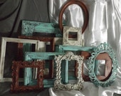 FRAME Collection, Set of 12, Beautiful Distressed Frames, Ornate Open Frames ,Aqua Green, Cream, Cinnamon