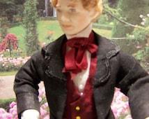 "Victor, porcelain dollhouse doll :12th. Doll Handmade by "" Les Miniatures de Béatrice"""