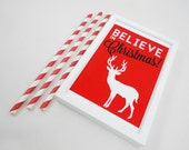 Printable Print - Believe in Christmas Red PDF Instant Download Digital File Xmas Last Minute Gift