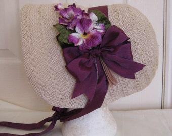 CUSTOM Regency/Victorian Straw Bonnet. Jane Austen. Made to to your design.