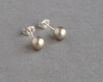 Champagne Pearl Studs - Beige Swarovski Pearl Post Earrings - Taupe Bridesmaid Jewelry - Buff Bridesmaids Gifts - Soft Gold Stud Earrings
