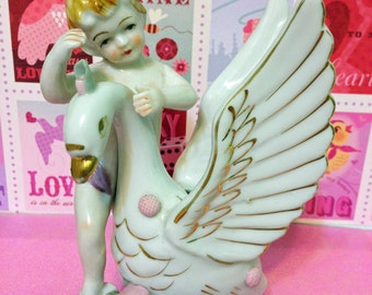 Cherub with Swan Vase Figurine made by United China and Glass Company
