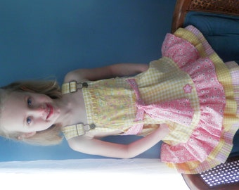 Girls Denim Bibs Dress, sz 3,  to size 4, Yellow, Orange,  Pink, from recycled Overalls, Skirted bib overalls, bib overalls with skirt