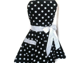 Flirty Apron, bridal shower pinup gift Classic Black White polka dot apron, White Ties, personalization available sexy, cute mother's day