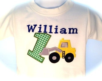 One Shirt or Onesie Applique Bulldozer  with Child's Name and Letter or Number