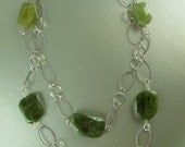 Green Aqua and Vessonite Necklace, Double Strand, Oxidized Silver Filled Spiral Links, 33 inches long, Adjustable, Silver Filled clasp