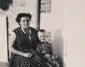 1950's Summer Photo - Woman and Child Sat Outside a House
