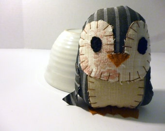 Mason the Penguin - 5 Inch Stuffed Penguin Made From Salvaged and Re-Purposed Fabric