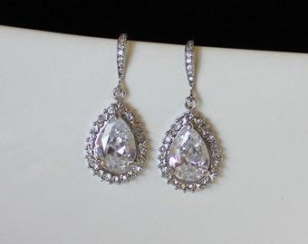 Teardrop Crystal Earrings, Crystal Bridal Earrings, Chandelier Earrings,  Wedding Jewelry, TESS