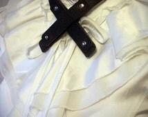 Unisex Leather Necktie - Antiqued Brown - steampunk, cosplay,