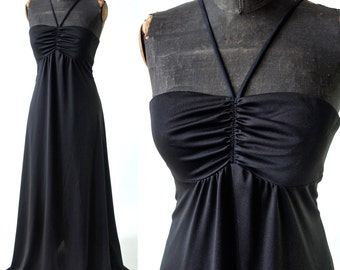 Black Halter Maxi Dress 1970's Polyester Ruched Bust size Small