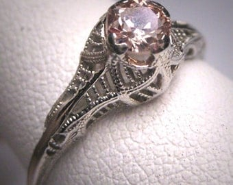 Antique Champaigne Diamond Wedding Ring 18K White Gold 1/2 Carat c.1920