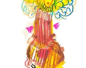 "Small Original Modern Contemporary Surreal Figure Watercolor Art 6"" x 6"" - 304"