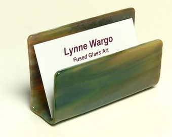 Business Card Holder,  Shades of Green and Tan Streaky Glass