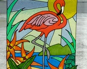 Flamingo window cling, stained glass look