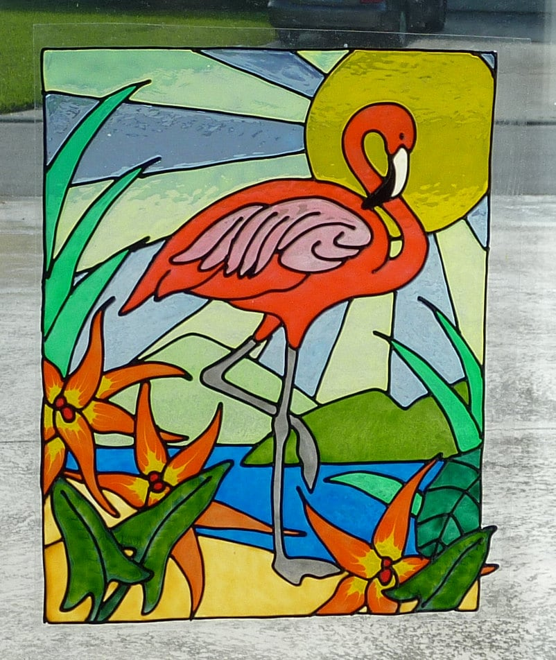 flamingo window cling stained glass look. Black Bedroom Furniture Sets. Home Design Ideas