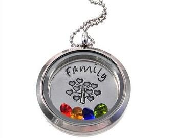 Floating Charm Locket / Family Tree of Life Necklace / Floating Locket