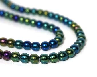 Czech Glass Beads, Green Iris Metallic, 6mm round, Full bead strand, 912G
