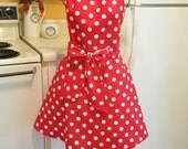 Retro Style Full Apron in Red Polka Dots in large