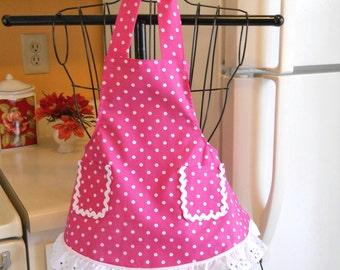 Retro Style Little Girls Full Apron in Rose with Polka Dots MADE TO ORDER