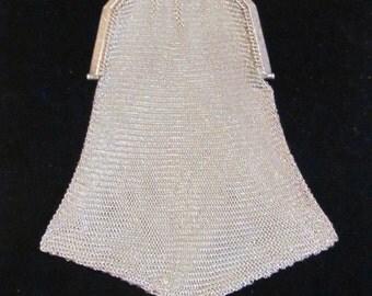 1920s Soldered Mesh Purse Antique Victorian Purse Formal Evening Bag Wedding Bridal RARE TASSEL