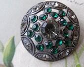 """1"""" Pot Metal Filigree Flapper Era Button w/ Green Rhinestones"""