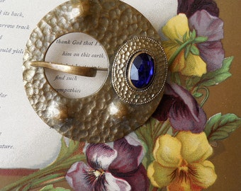 Signed HAND WROUGHT Arts & Crafts Hammered Brass Brooch or Sash Pin    KD13
