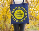CaliFreakingFornia Canvas Tote Bag (California Sun)