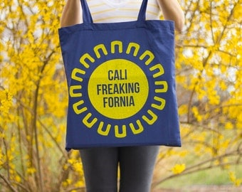 CaliFreakingFornia Canvas Tote Bag (California Sun)