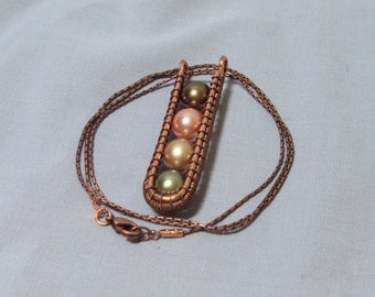linear copper wire pendant olive green pink pearls