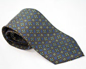 Vintage Silk Neck Tie Mens Blue Yellow Orange Floral Medallions Rivetz of Boston Brand