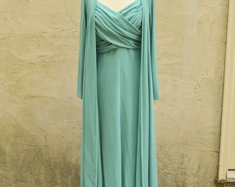 Julie Miller of California Celadon Green Gown and Robe Set Sz M // 1960s Grecian Dress