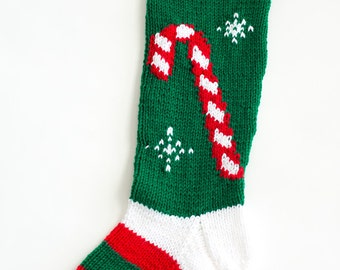 Knit Candy Cane Christmas Stocking - Personalized