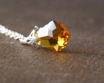 Crystal Necklace - Sterling Silver Necklace - Honey Yellow Swarovski Crystal Necklace - Baroque Swarovski Necklace - Glitter Jewelry