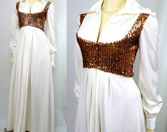Vintage 1970s Estevez Eva Gabor Elvis dress White polyester Gold sequins Wide Collar Maxi Small Retro