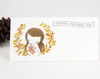 10 Mailing Labels - Hedgehog Wreath