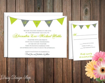 Wedding Invitation - Bunting Banner in Customizable Colors - Invitation and RSVP Card with Envelopes